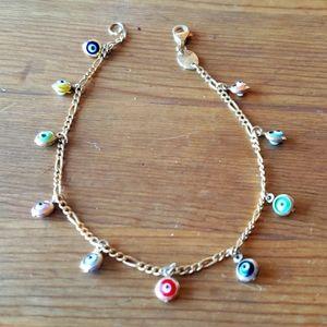 "Sterling Silver Multicolor Evil Eye 7"" Bracelet"